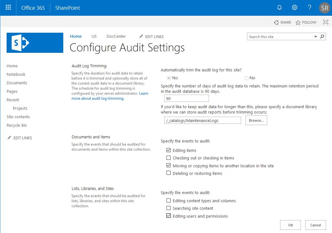 sharepoint online audit settings powershell