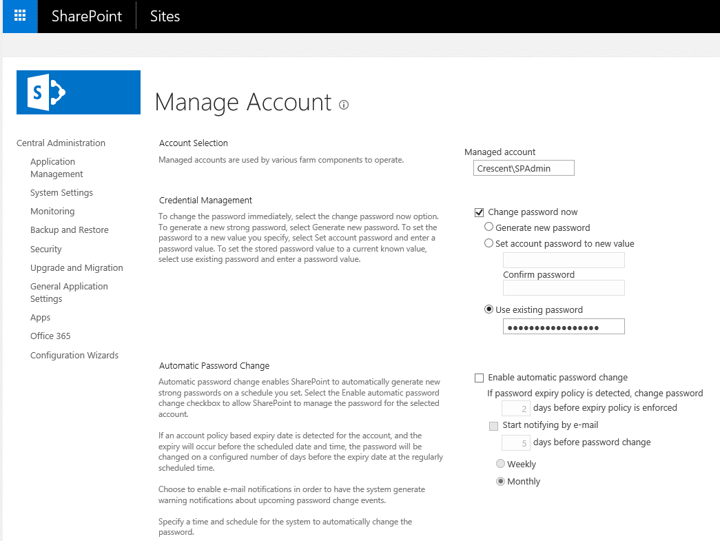 change password for sharepoint farm account