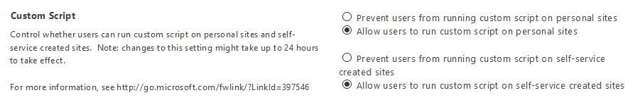 enable custom script sharepoint online powershell
