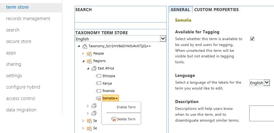 managed metadata enable deprecated term