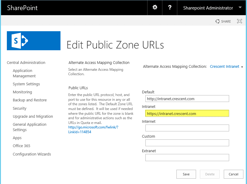 sharepoint 2016 https alternate access mapping