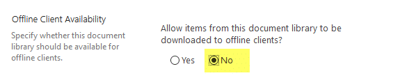 sharepoint online disable document library sync