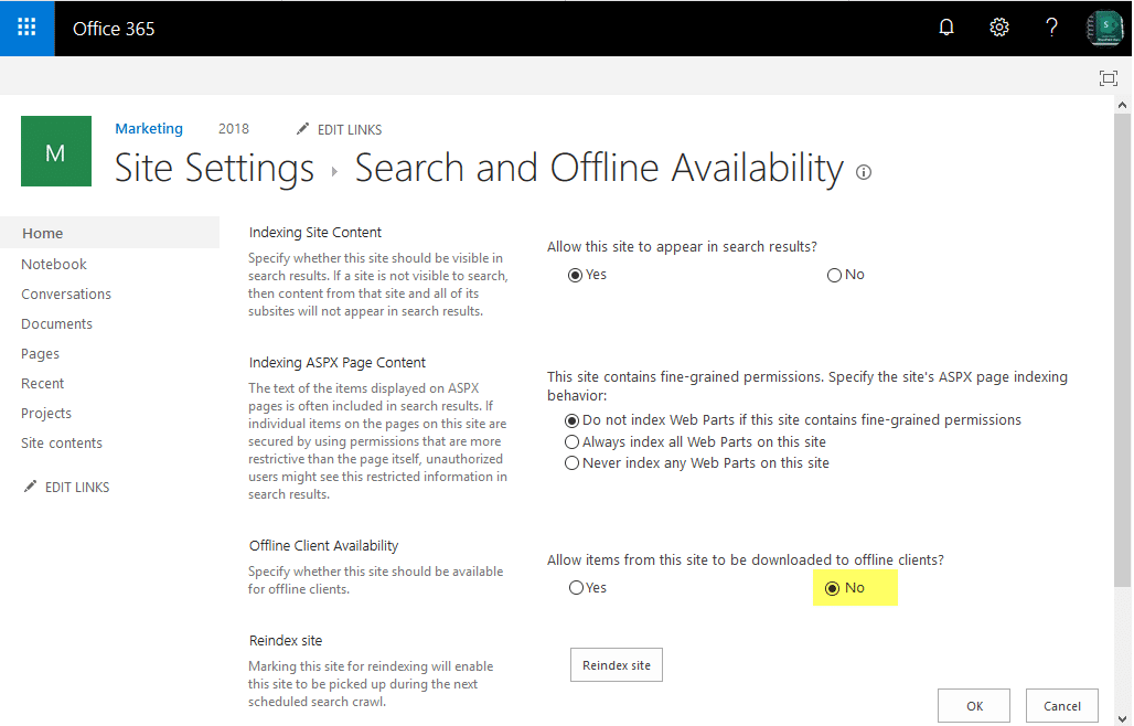 sharepoint online hide sync button
