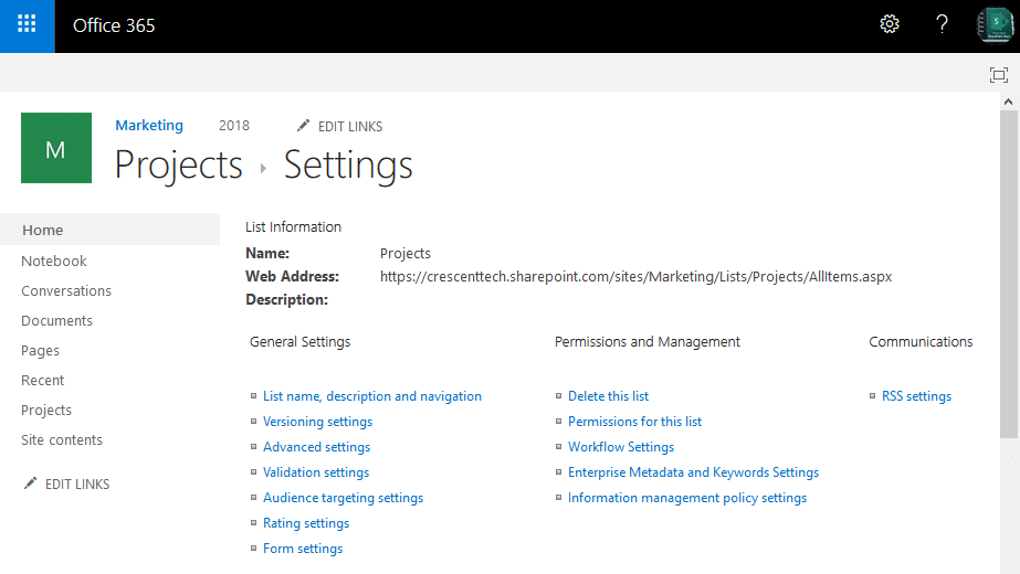sharepoint online save list as template missing