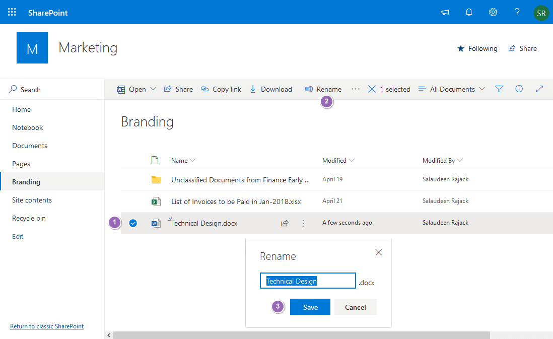 rename file sharepoint online