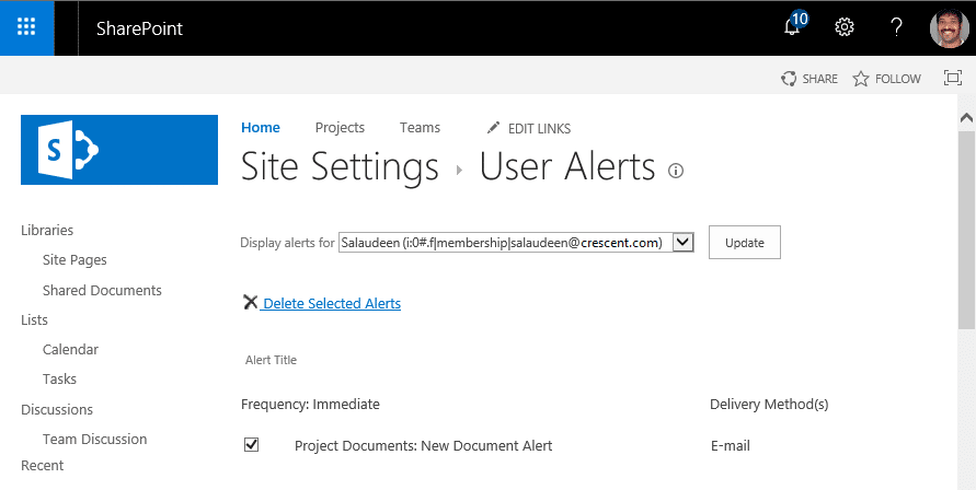 sharepoint online delete alerts