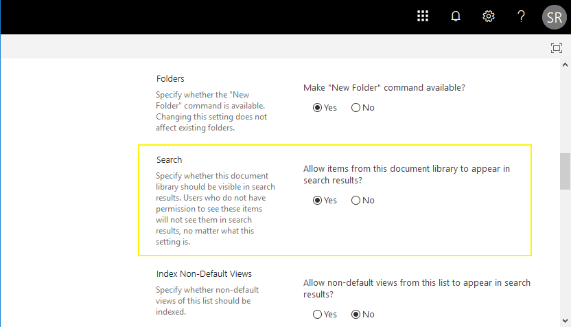 sharepoint online remove list from search