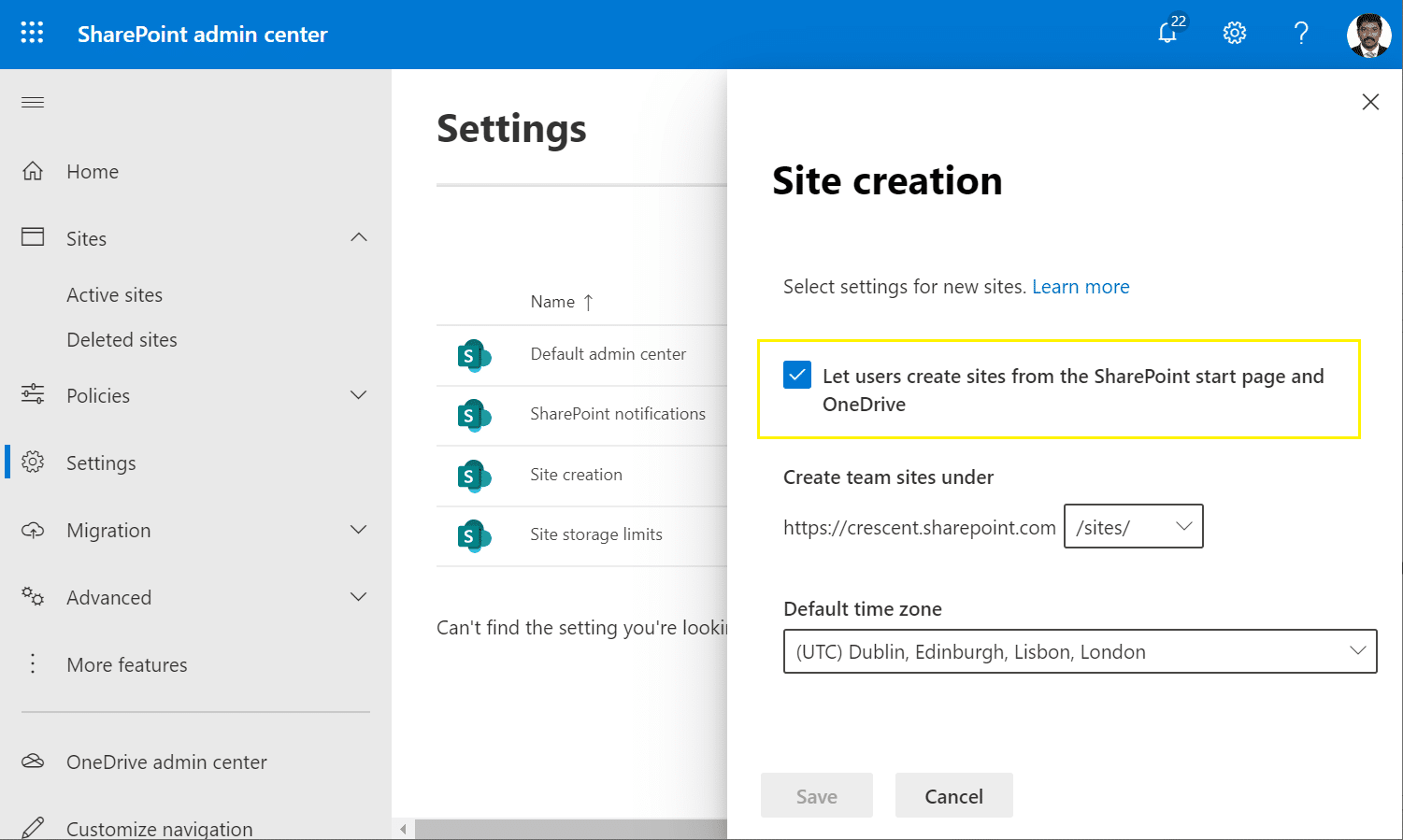 disable create site in sharepoint online home
