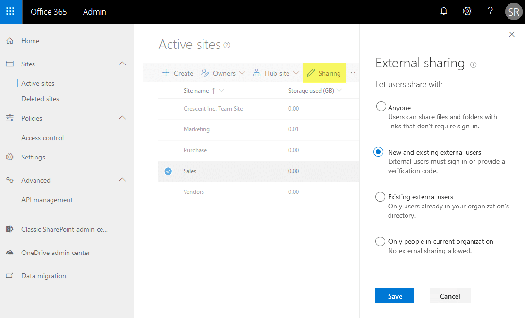 enable external sharing at site collection level