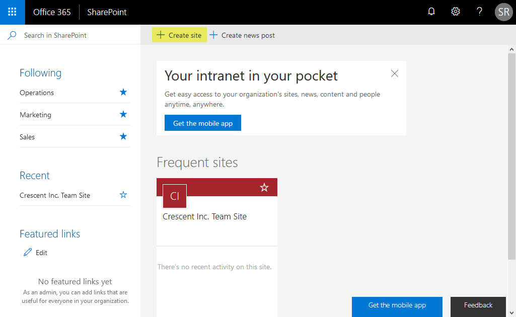 hide create site link sharepoint online