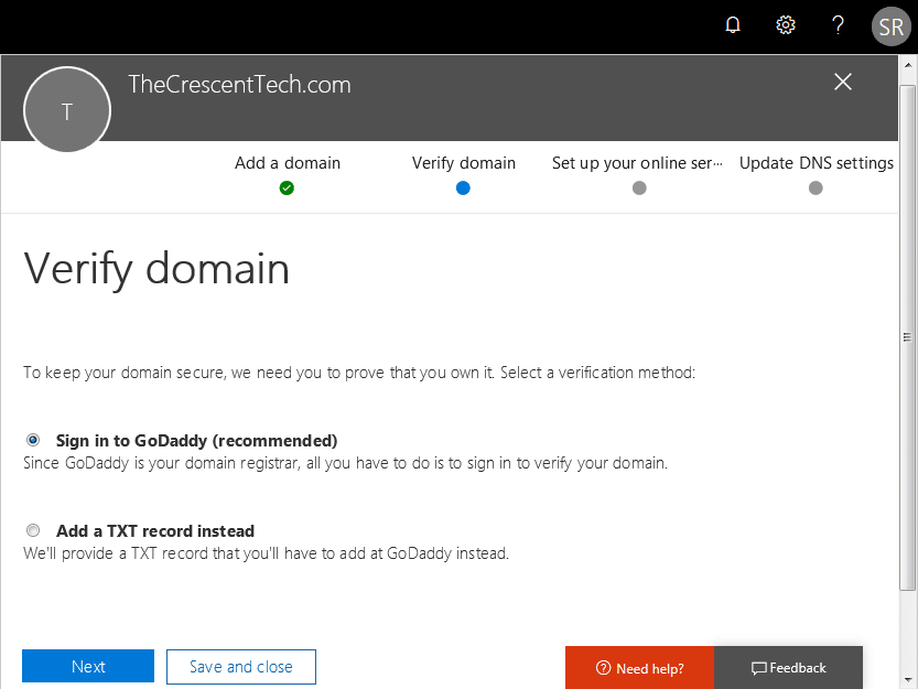 office 365 add domain step by step