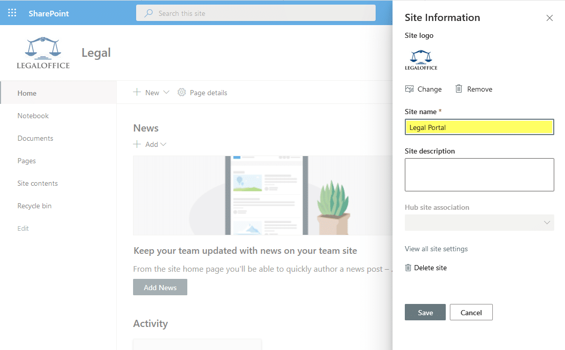 sharepoint online how to change site name