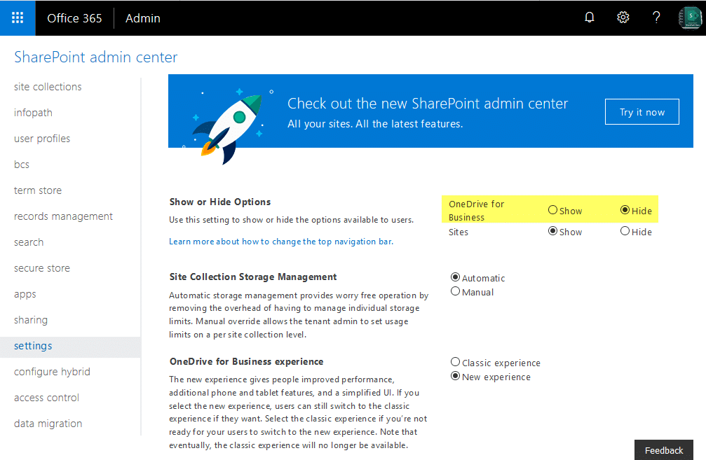 disable onedrive office 365 for all users