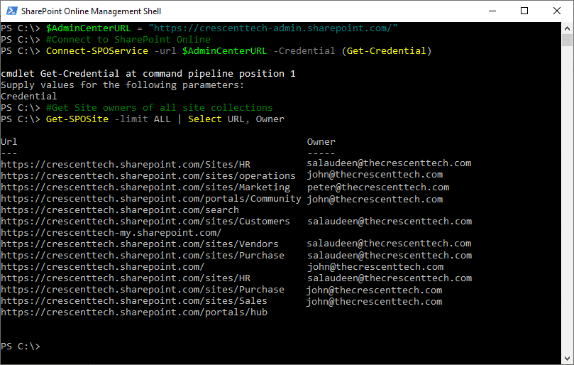 get site owner sharepoint online powershell