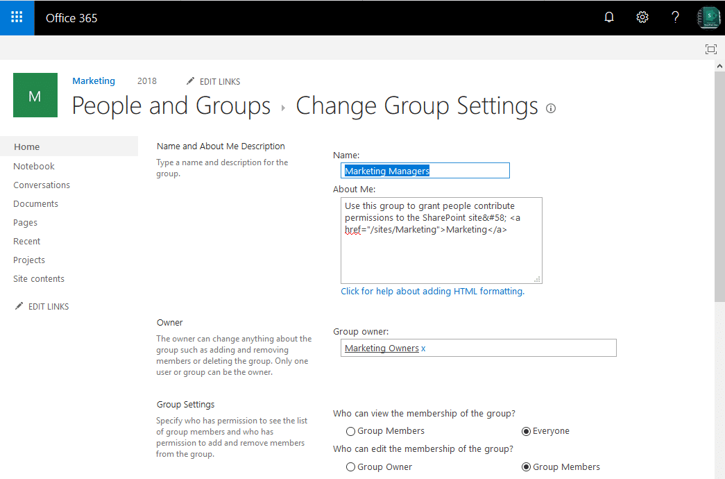 sharepoint online rename group
