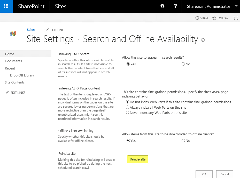 how to reindex the sharepoint site