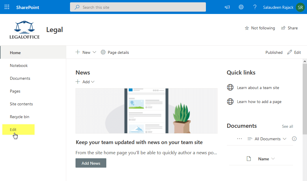 sharepoint online add link to quick launch