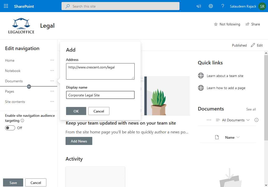 sharepoint online add to quick launch