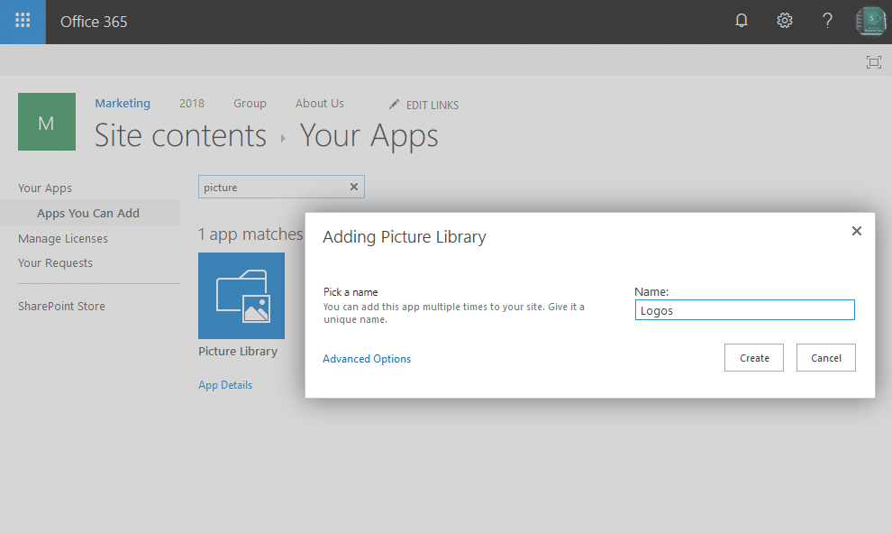 sharepoint online create picture library