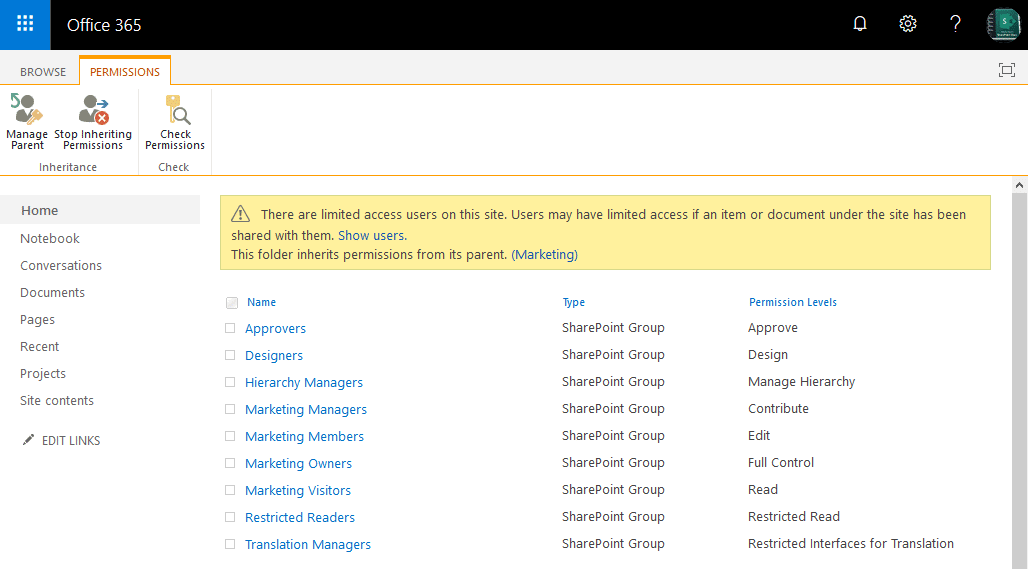 sharepoint online library folder permissions