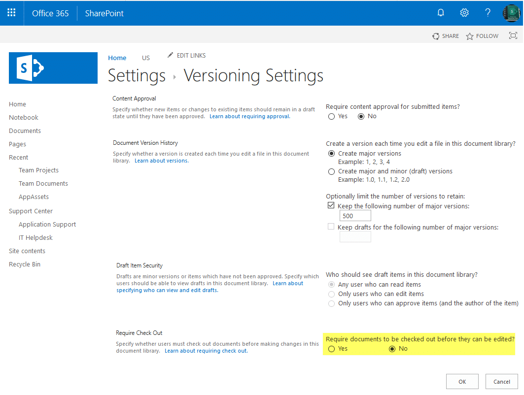 sharepoint online require check out