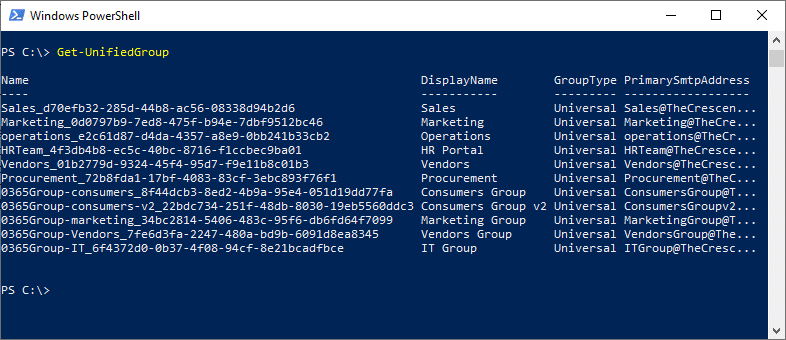 get office 365 group using powershell
