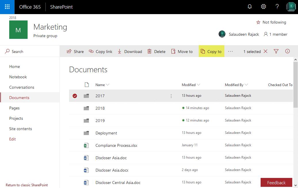 sharepoint online copy folder powershell