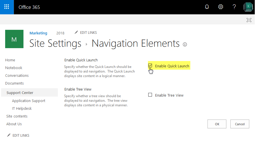 sharepoint online disable quick launch bar