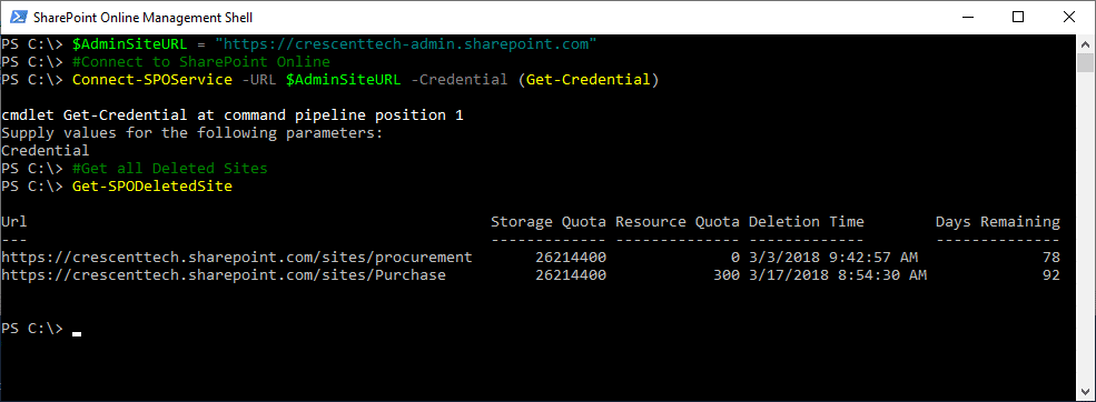 sharepoint online powershell list deleted sites