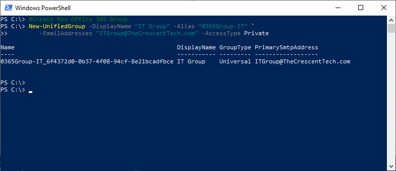 create office 365 group using powershell