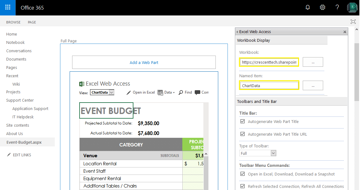 Excel Web Access Webpart In SharePoint