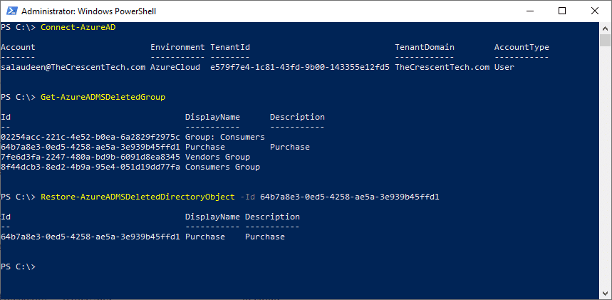 recover deleted office 365 group via powershell