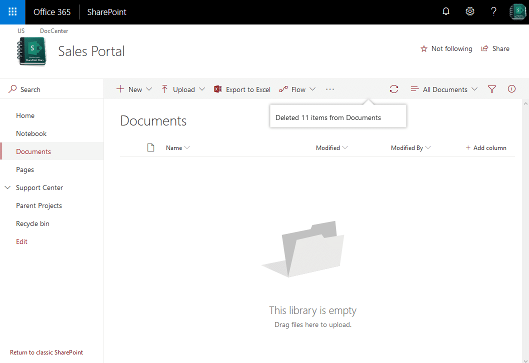sharepoint online delete all files