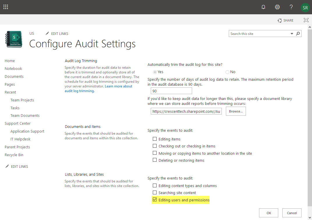 audit permission changes in sharepoint online