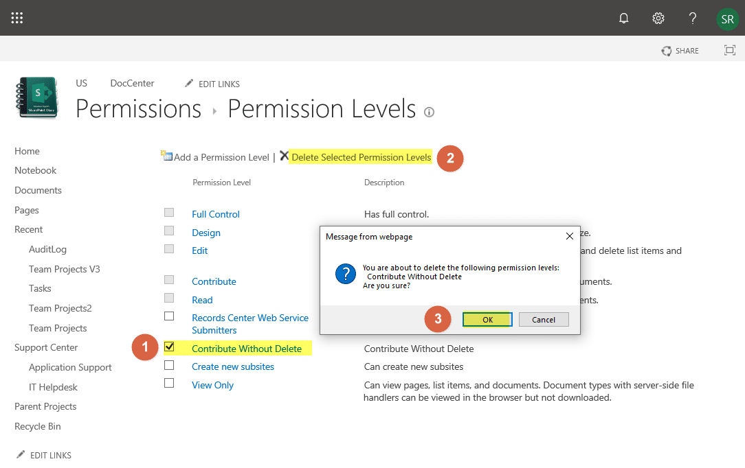 sharepoint online delete permission level