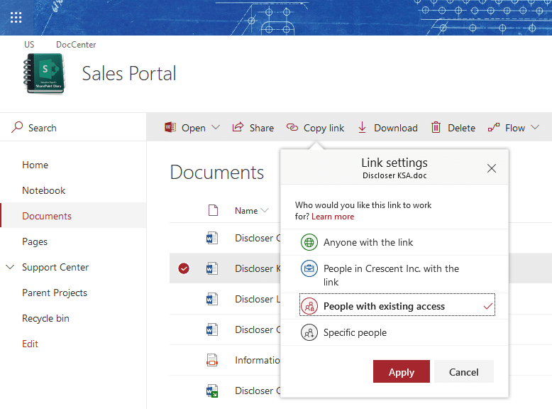 sharepoint online get direct link to document