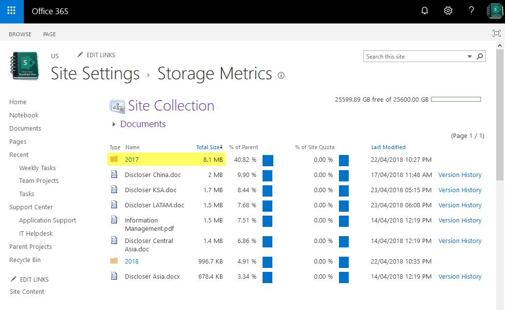 sharepoint online get folder size