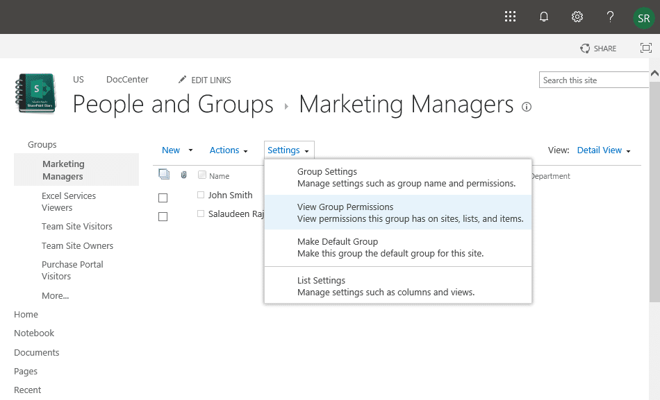 View SharePoint Group Permissions