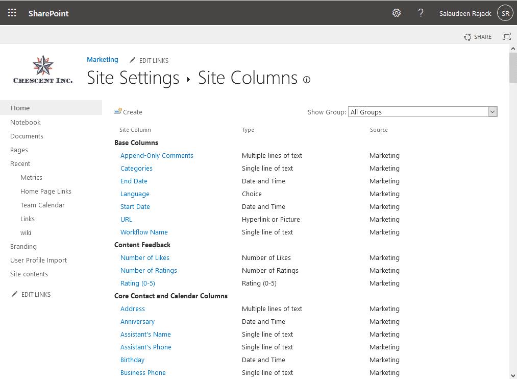 get site columns in sharepoint online