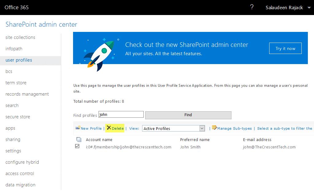 sharepoint online delete user profile powershell