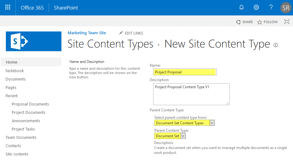 create document set in sharepoint online