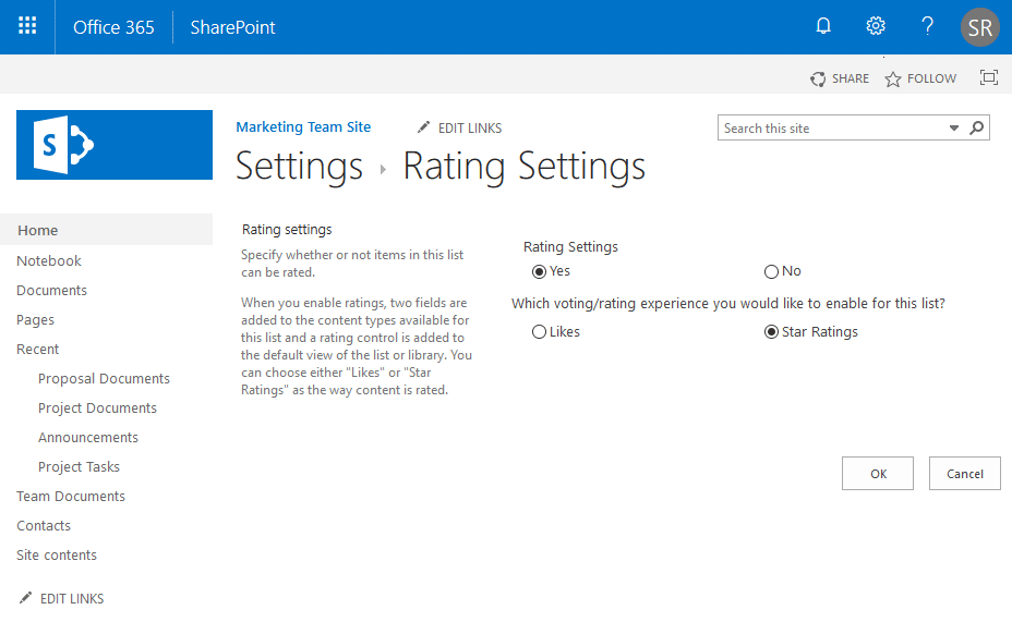 rating settings in sharepoint online