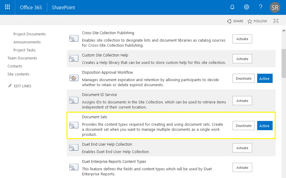 sharepoint online activate document set