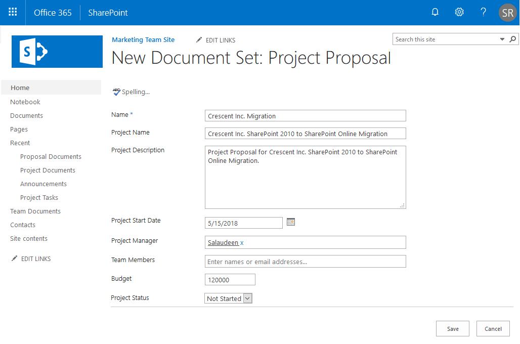 sharepoint online create document set using powershell