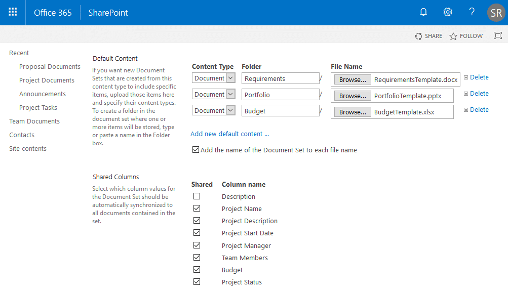 sharepoint online document set content type