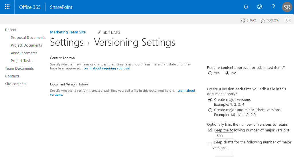 sharepoint online powershell disable versioning