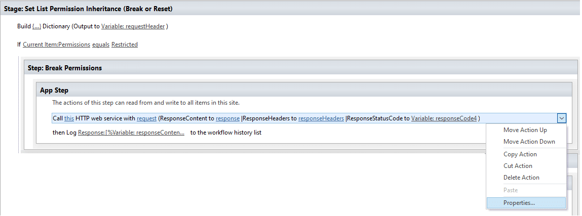 set web service properties