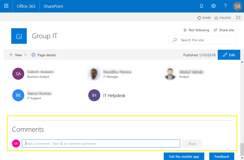 sharepoint online disable page comments