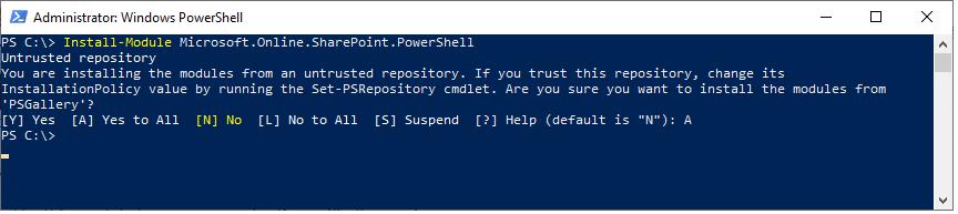 install sharepoint online powershell module