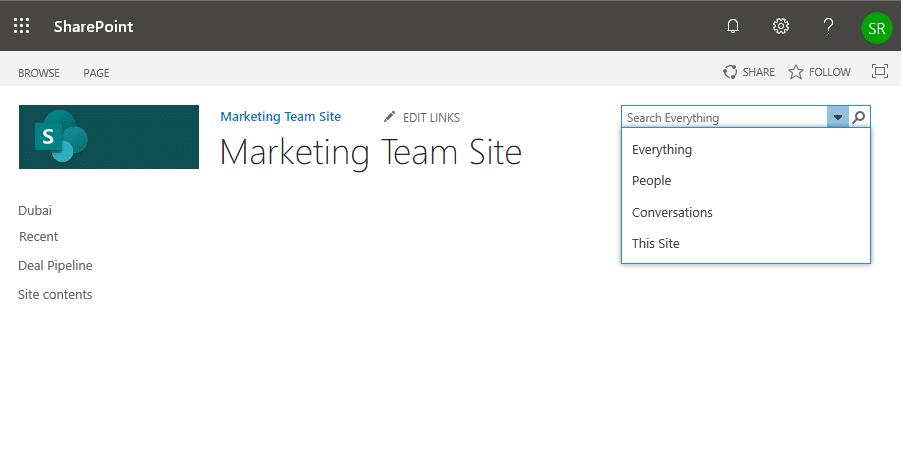 sharepoint online configure search navigation